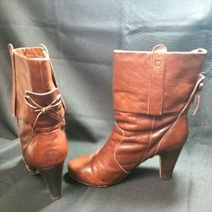 Dolce Vita Leather Cuffed Heeled Bootie